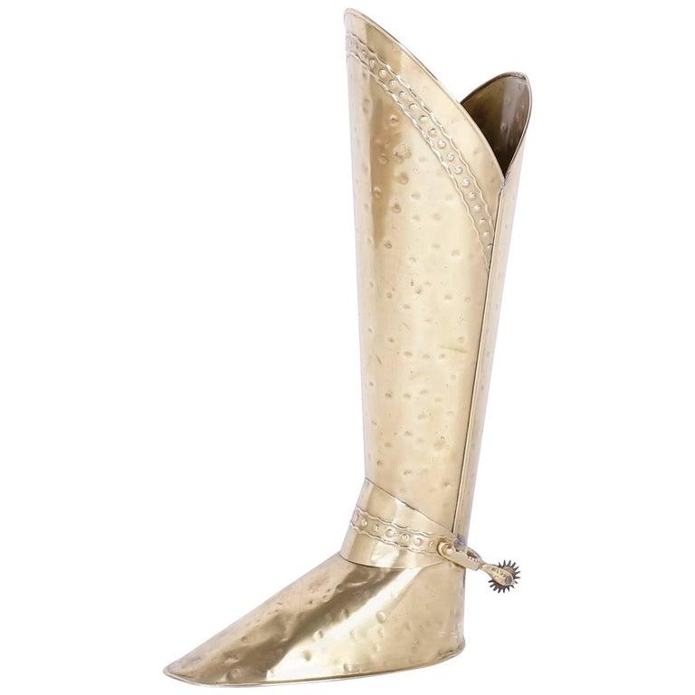 Mid-Century Modern Hand-Hammered Brass Boot Umbrella Stand