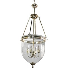 Large Glass and Chrome Bell Jar Lantern