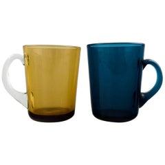 Kaj Franck Nuutajärvi Glass Works, Two Mugs with Handle
