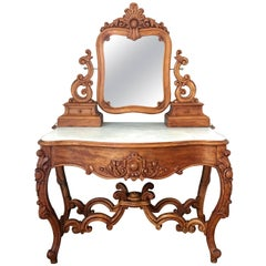 Carved Victorian Mahogany Vanity or Dresser Table with Attached Mirror