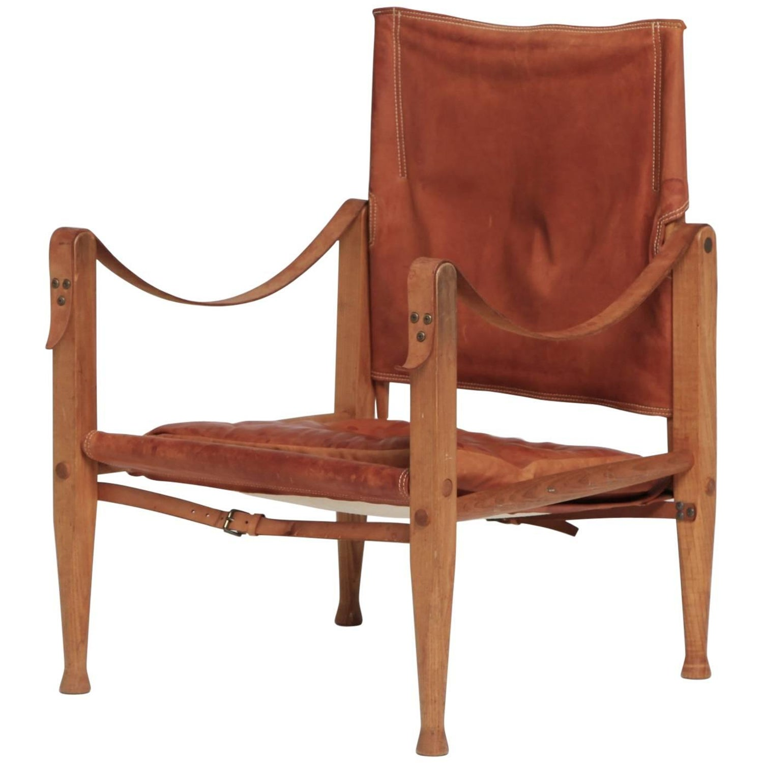 This pair of large burmese arm chairs is no longer available - Kaare Klint Safari Chair In Patinated Tan Leather Rud Rasmussen Denmark 1960s
