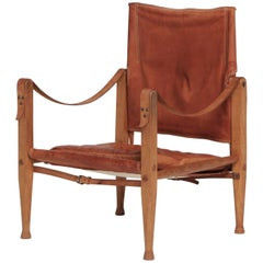 Kaare Klint Safari Chair in Patinated Tan Leather, Rud Rasmussen, Denmark, 1960s