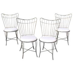 Brushed Steel Wire Frame Garden Patio Dining Chair Set by Salterini