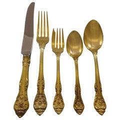 King Edward by Gorham Gold Sterling Silver Flatware Set Service 42 Pcs Dinner