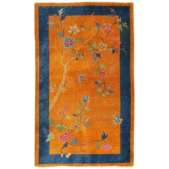 Orange Background Art Deco Chinese Rug with Large Tree and Vining Flowers