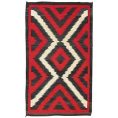 1920s American Antique Navajo Rug with Geometric Design in Red, White and Black