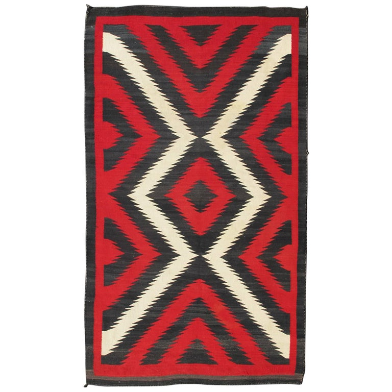 1920s American Antique Navajo Rug With Geometric Design In