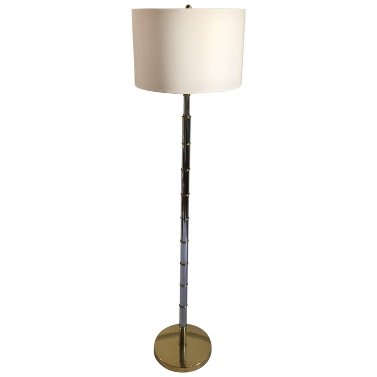 Bamboo Style Brass And Chrome Floor Lamp For Sale At 1stdibs