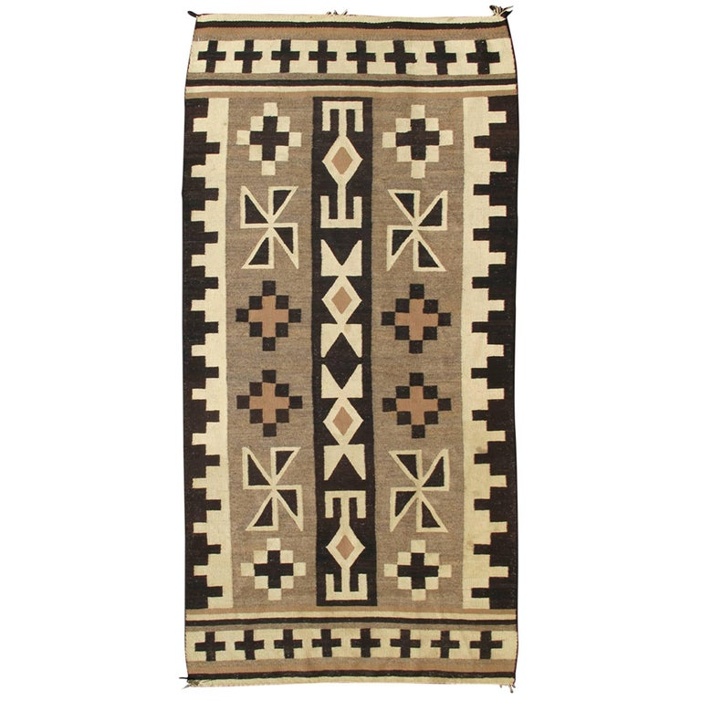 1930s American Navajo Kilim with Geometric Design in Black, Ivory and Brown
