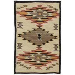 American Navajo Kilim with All-Over Diamond Geometric Design in Yellow and Red
