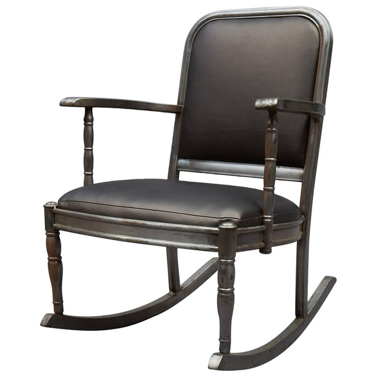 Simmons Brushed Steel And Gunmetal Vinyl Rocking Chair For