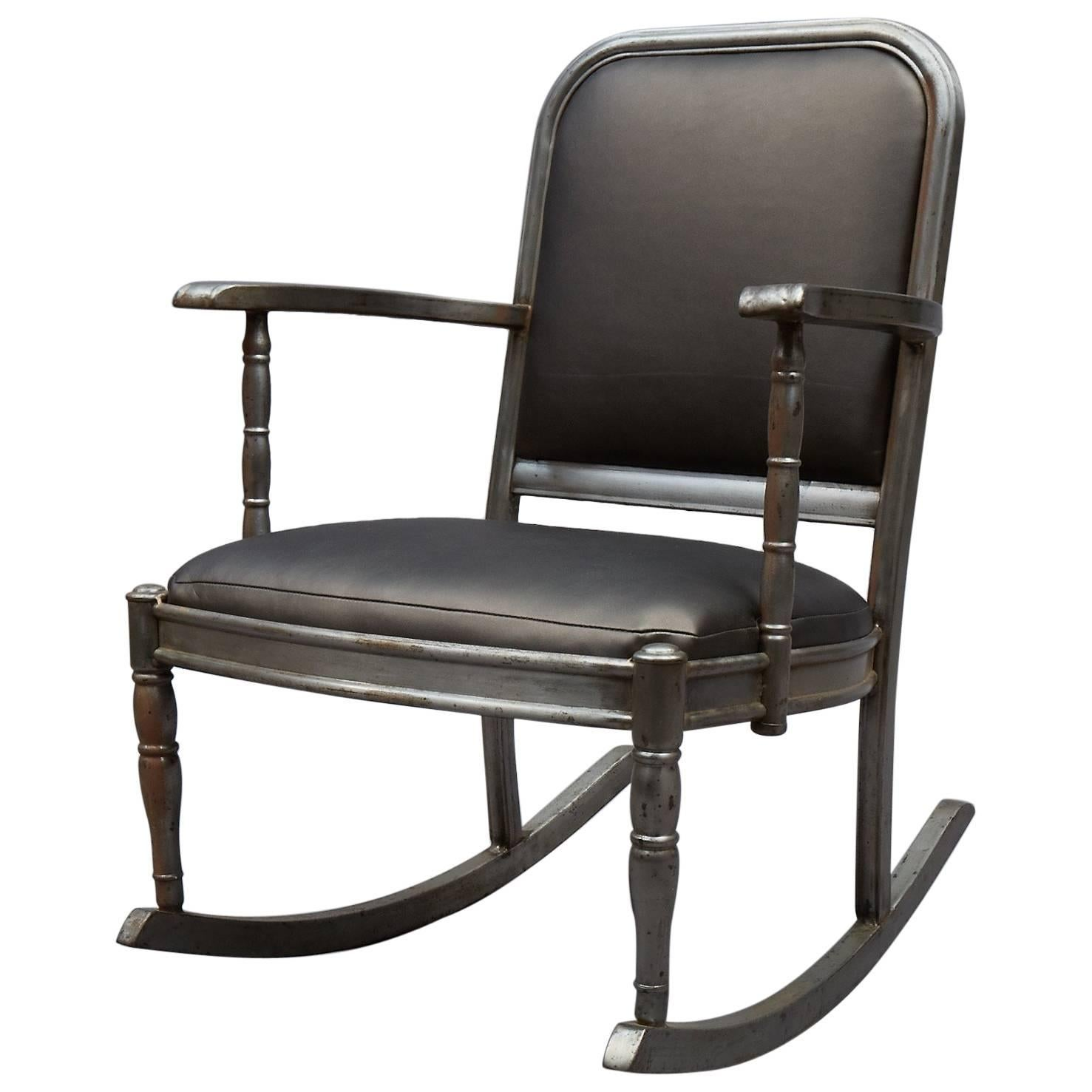 Simmons Brushed Steel And Gunmetal Vinyl Rocking Chair