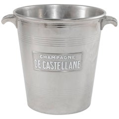 Early 20th Century Silver Plate De Castellane Champagne Bucket, Enameled Letters