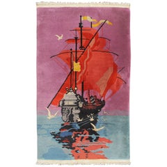 1920s Chinese Art Deco Rug with Sailing Ship and Birds in Bright Pink and Orange