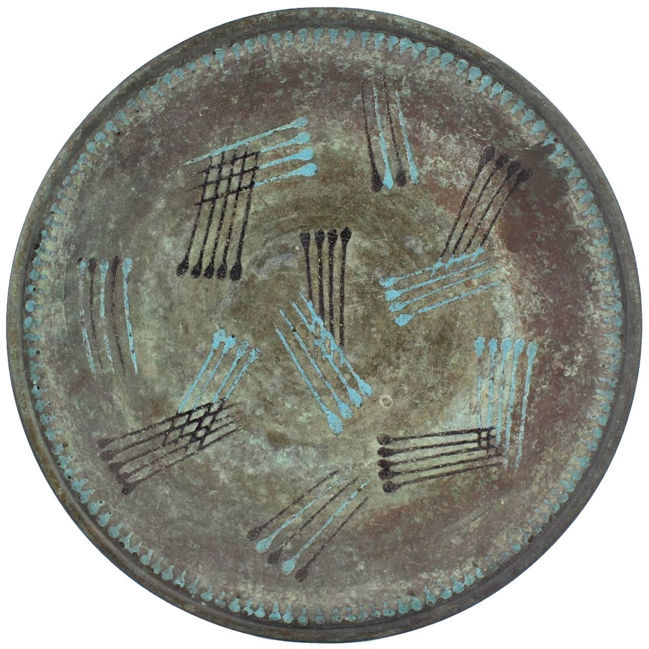 Primavera HM French Art Deco 'Plat Circulaire' Champlevé Bronze Plate, 1920s