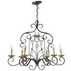 Early 20th Century French Iron Chandelier with Gold Crown and Keys