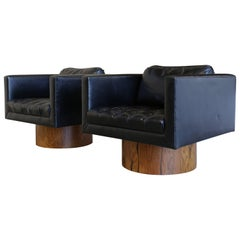 Black Leather and Rosewood Swivel Lounge Chairs by Harvey Probber