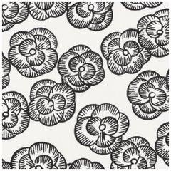 Schumacher Vogue Living Mona Floral Flock Print Blackwork Wallpaper, Two Roll