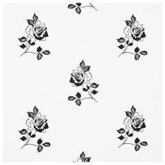 Schumacher Vogue Living Adele Floral ScreenPrinted Blackwork Wallpaper, Two Roll