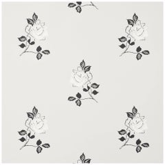 Schumacher Vogue Living Adele Floral ScreenPrinted Grisaille Wallpaper, Two Roll
