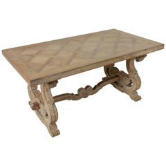 Late 19th Century, French Renaissance and Gustavian Style Oak Parquet Table