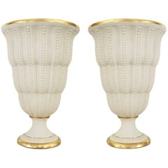 Pair of French Art Deco White Bisque Porcelain Uplight Table Lamps