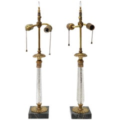 Pair of Art Deco Vanity Table Lamps in Crystal, Bronze and Marble