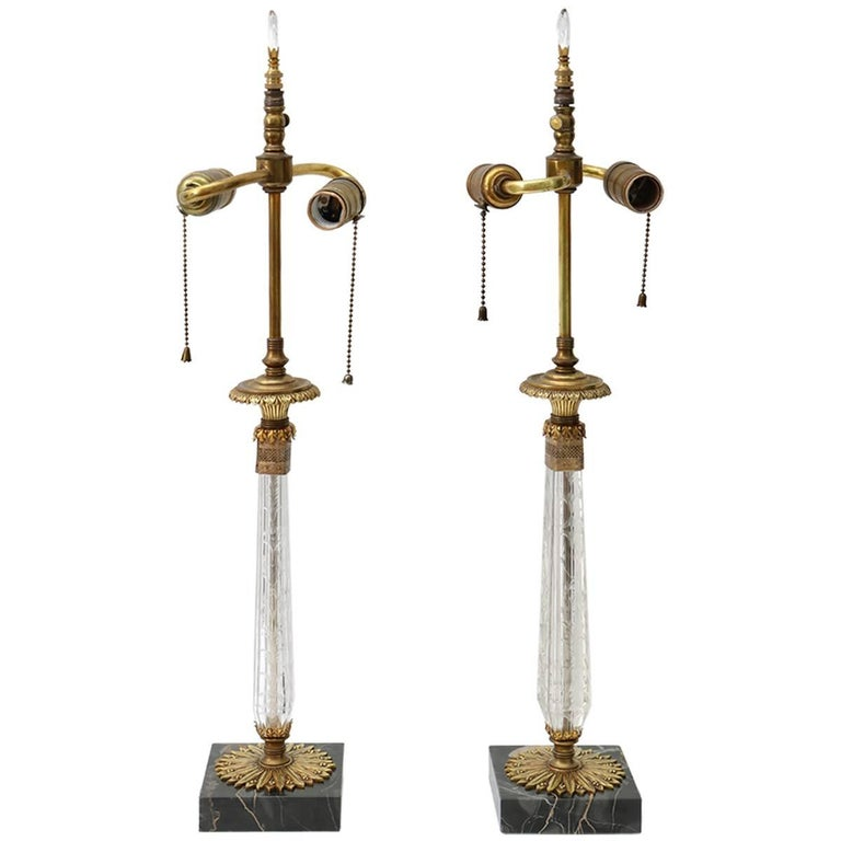 Pair of Vanity Table Lamps in Crystal, Bronze and Marble