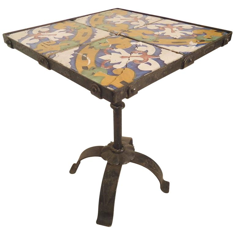 Tile Top Side Table For Sale