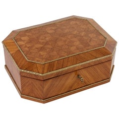 19th Century Napoleon III Period French Rosewood Marquetry Box, Bronze Detailing
