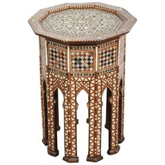 Syrian Octagonal Side Table with Mother-of-Pearl Inlay