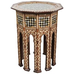 Syrian Octagonal Side Table Inlaid with Mother-of-Pearl and Bone