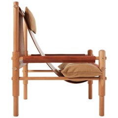 Workstead Sling Chair Two in Cherry, Turned Wooden Legs and Brown Leather Sling