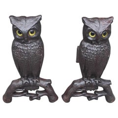 Pair of American Cast Iron Perched Owl Andirons, Boston, Circa 1900