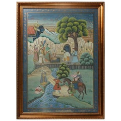 Antique Framed Gilt Decorated Assam Painting of Village Scene