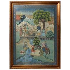 Antique Framed Gilt Decorated Assam Painting of Village Scene