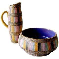 Aldo Londi Bitossi Raymor Seta Italian Modern Design Pitcher Bowl Set