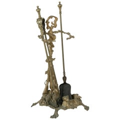 Bronze Fireplace Tools with Dog and Hunting Motif, Stand Shovel and Tongs