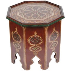 Moroccan Hand-Painted Side Table with Moorish Designs