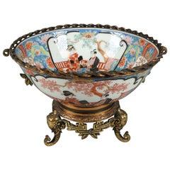 Japanese Imari Porcelain and Figural Bronzed Bowl with Elephants, circa 1880
