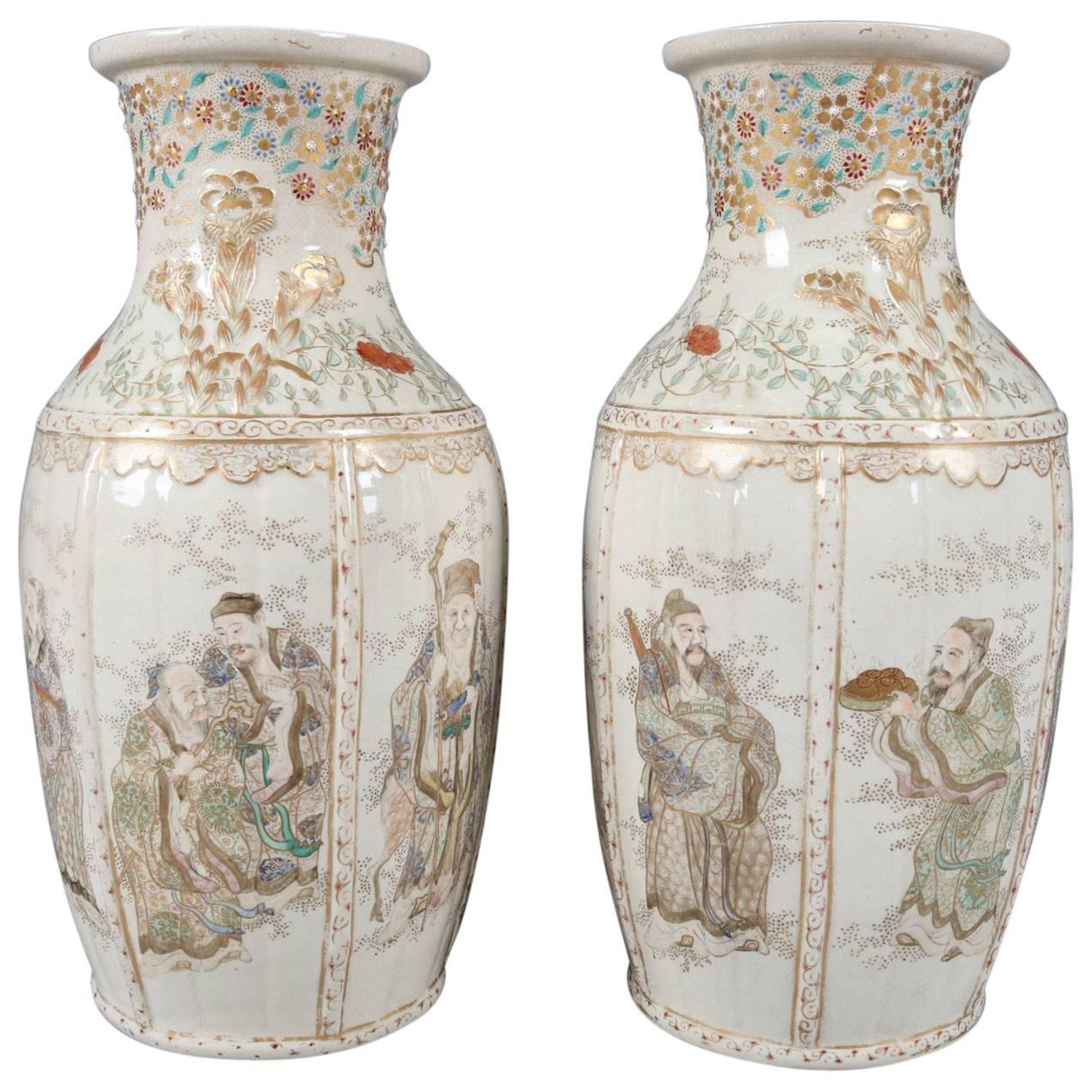 Pair of antique japanese gilt and hand painted satsuma cabinet pair of antique and fine japanese gilt satsuma meiji pottery vases wise men reviewsmspy