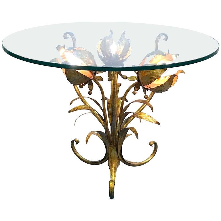 Italian Illuminated Gilt Tole Side Table For Sale