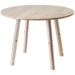 Crux, Modern Birch and Steel Round Dining Table