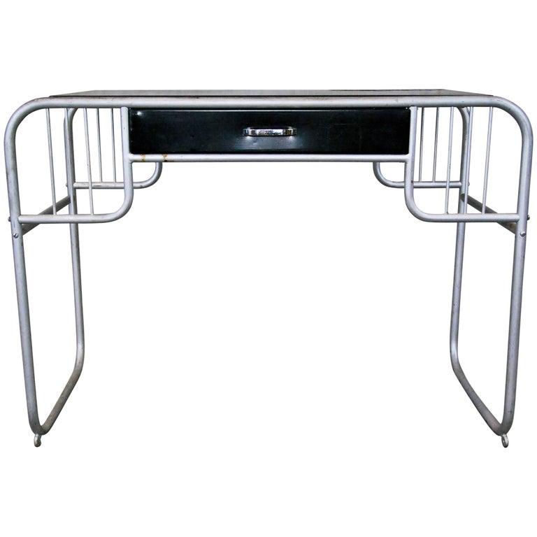 MCM Small Bauhaus Style Unidentified Metal Desk