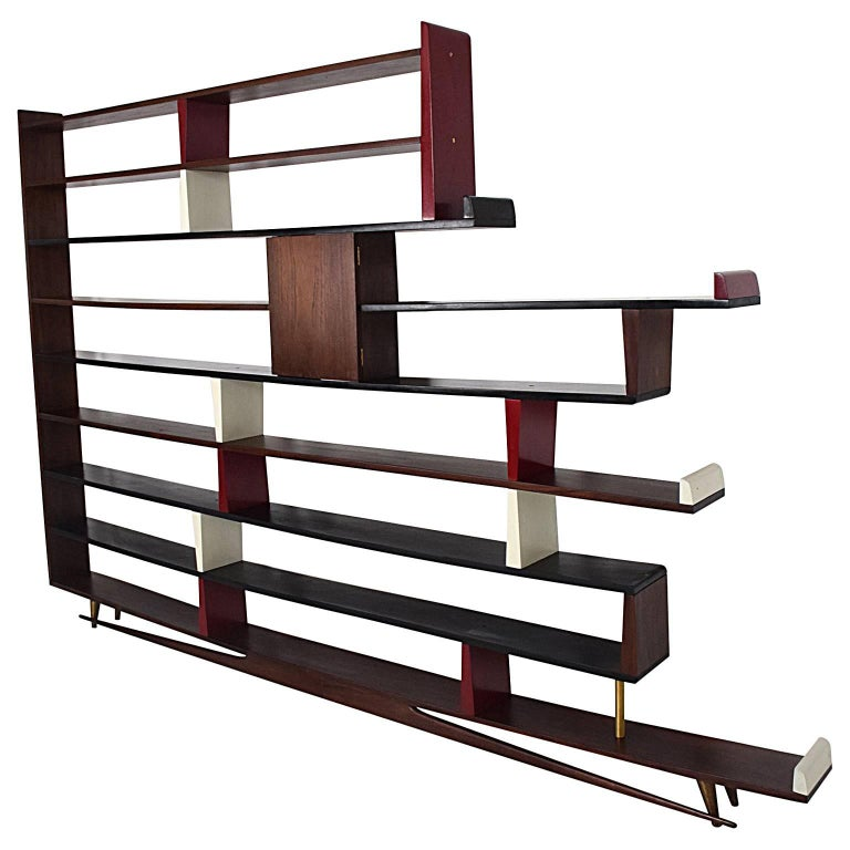 Mid-Century Modern Mexican Modernist Bookcase Shelving Room Divider 1