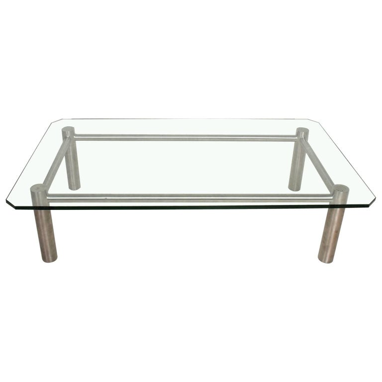 Modern Stainless Steel And Glass Coffee Table By Benchmark For Sale At 1stdibs