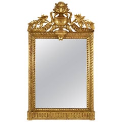 Tall Gold Louis Xvi Giltwood Full Length Mirror With Crown