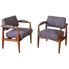 Pair of Walnut Robsjohn-Gibbings Style Armchairs