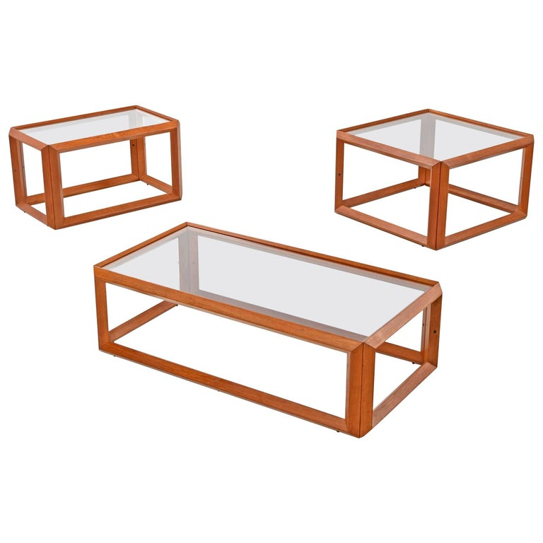 Solid teak and glass cubist architectural living room three piece table set for sale at 1stdibs One piece glass coffee table