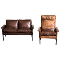 Hans Olsen Two-Seat Leather Sofa and Armchair